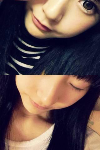 武田玲奈の目をつぶっている自撮り